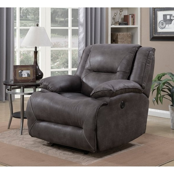 Well Known Shop Dylan Power Recliner With Memory Foam Seat Topper And Usb Inside Travis Dk Grey Leather 6 Piece Power Reclining Sectionals With Power Headrest & Usb (View 4 of 15)