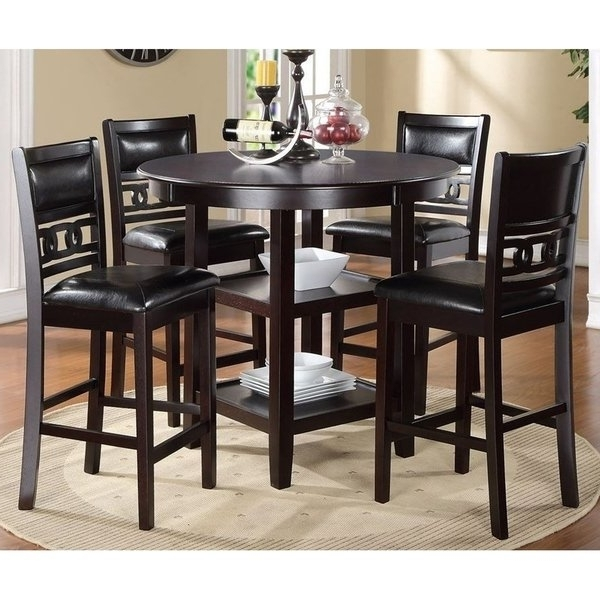 Well Known Shop Gia Ebony Counter Height Round Table 5 Piece Dining Set – Free Regarding Harper 5 Piece Counter Sets (View 11 of 20)