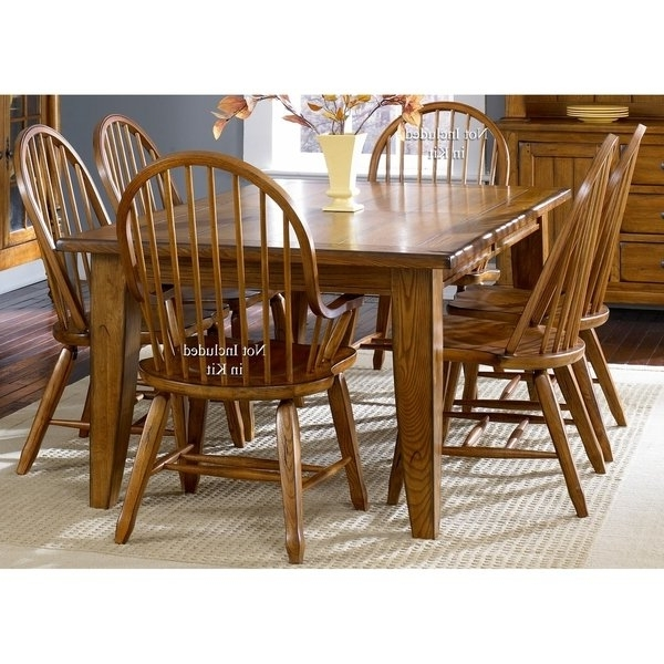 Well Known Shop Treasures Rustic Oak 5 Piece Bow Back 44X108 Rectangular In Craftsman 7 Piece Rectangular Extension Dining Sets With Arm & Uph Side Chairs (View 18 of 20)