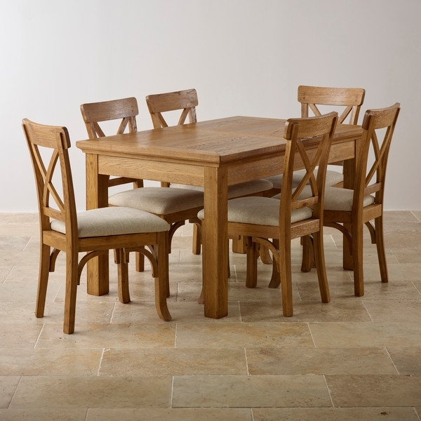 Well Known Solid Oak Dining Tables And 6 Chairs Pertaining To Taunton Rustic Brushed Solid Oak Dining Set – 4Ft Extending Dining (View 13 of 20)