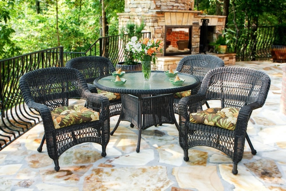 Well Known Tortuga Outdoor Portside 5 Piece Wicker Dining Set – Wicker Regarding Outdoor Tortuga Dining Tables (View 11 of 20)