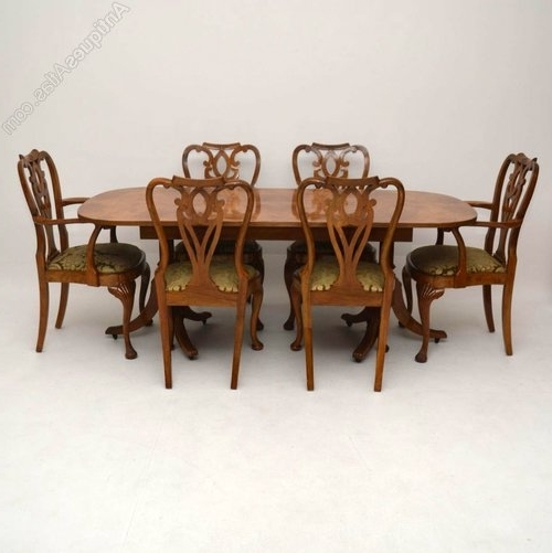 Well Known Walnut Dining Table And 6 Chairs Regarding Burr Maple & Walnut Dining Table Plus 6 Chairs – Antiques Atlas (View 19 of 20)