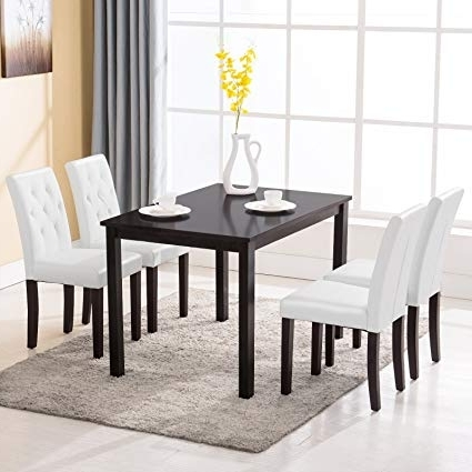 Well Known White Dining Sets With Amazon – Mecor 5 Piece Dining Table Set Wood Table/4 Leather (View 16 of 20)