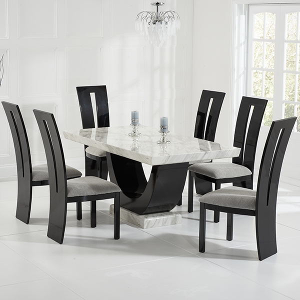 Well Known Wood Dining Tables And 6 Chairs Within Riviera Cream And Black Marble Dining Table With 6 Chairs – Robson (View 12 of 20)