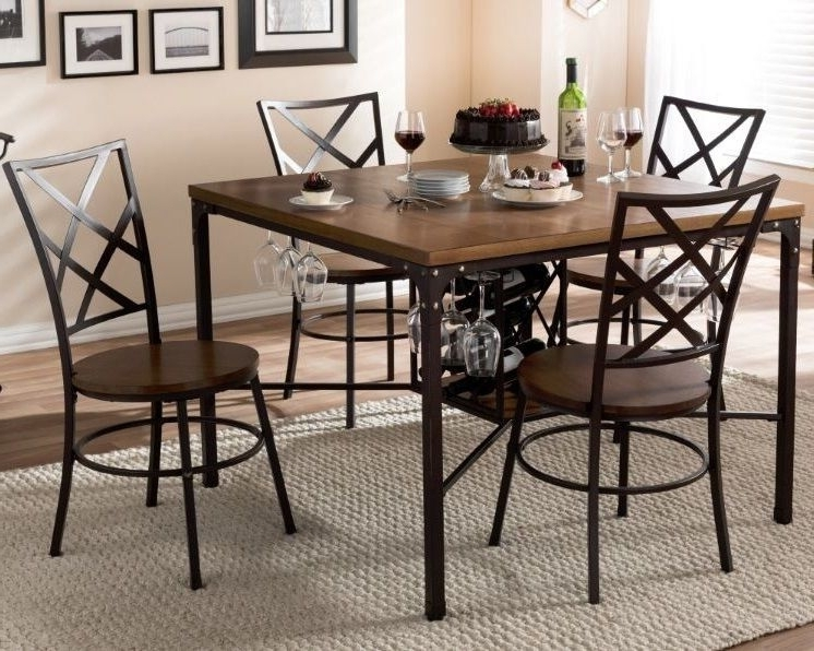 Well Liked 5 Piece Dining Table Set 4 Chairs Wine Rack Wood Metal Kitchen Throughout Grady 5 Piece Round Dining Sets (View 6 of 20)