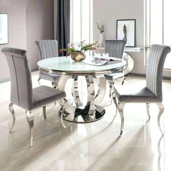 Well Liked 6 Seat Dining Table Cool Round Dining Table For 6 White Glass Chrome With Regard To 6 Seat Round Dining Tables (View 17 of 20)