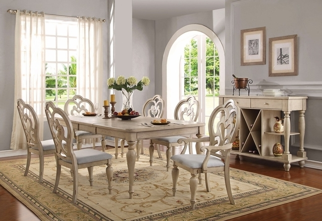 """Well Liked Absolon French Country Dining Room Set 66"""" 86"""" Table Antique White Within Country Dining Tables (View 3 of 20)"""