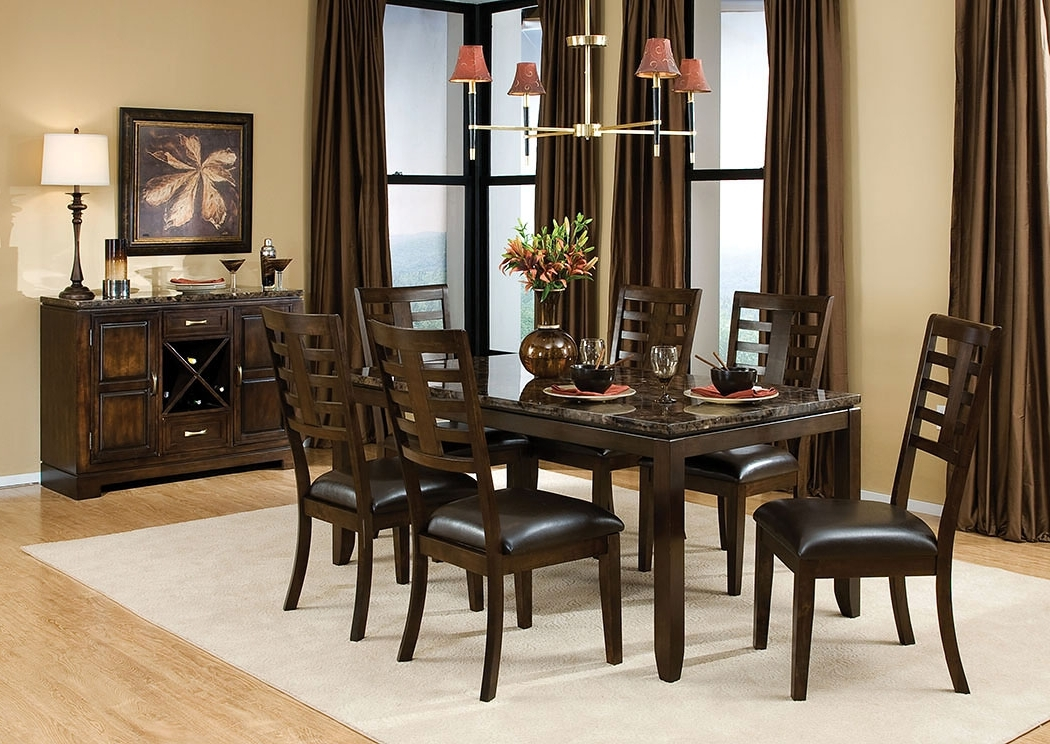 Well Liked Albert's Home Furnishings Bella Marbella Top Dining Table W/6 Side With Regard To Marbella Dining Tables (View 20 of 20)