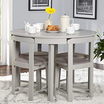 Well Liked Amazon – 5 Piece Compact Round Dining Set Home Living Room In Compact Dining Sets (View 19 of 20)