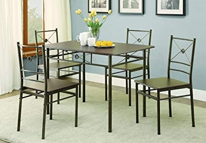 Well Liked Amazon – Coaster 100033 Home Furnishings 5 Piece Dining Set With Regard To Harper 5 Piece Counter Sets (View 19 of 20)
