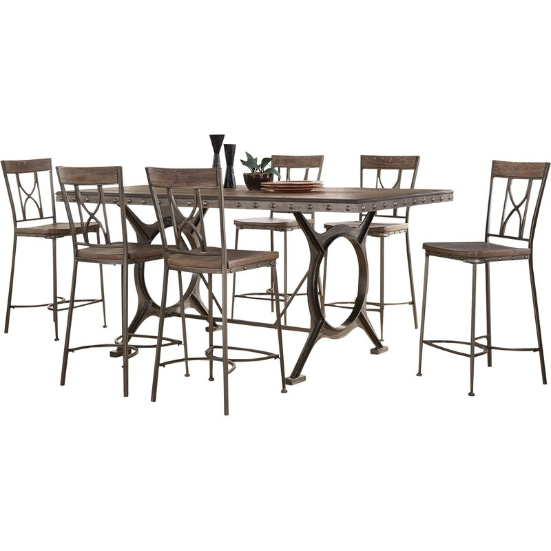 Well Liked Caira 7 Piece Rectangular Dining Sets With Upholstered Side Chairs In Fleur De Lis Living Barlow 7 Piece Count Height Dining Set (View 12 of 20)
