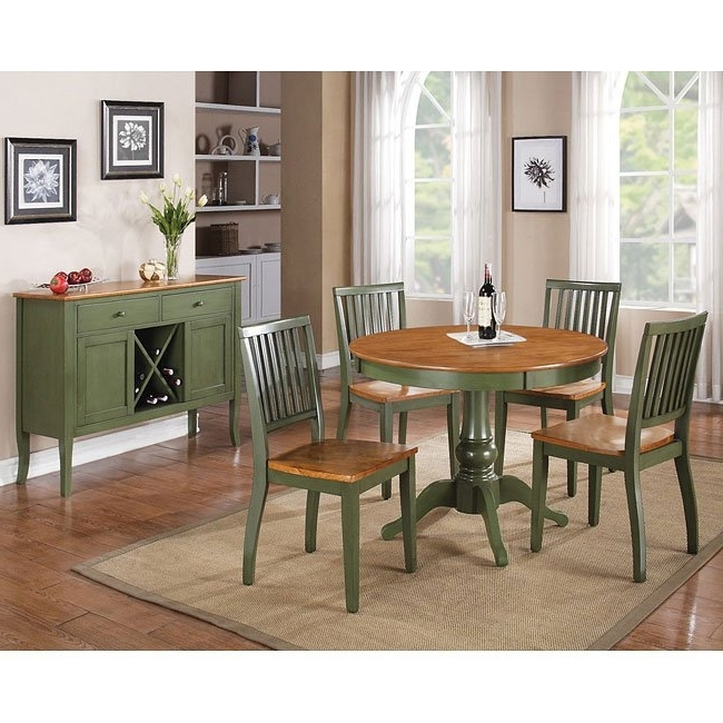 Well Liked Candice Ii Extension Rectangle Dining Tables For Candice Round Dining Room Set (Oak / Green) Steve Silver Furniture (View 19 of 20)
