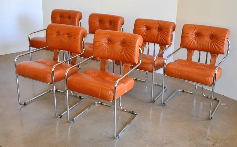 Well Liked Chrome Leather Dining Chairs Pertaining To Leather And Chrome Tucroma Dining Chairs For Pace, Set Of Six At 1Stdibs (View 8 of 20)