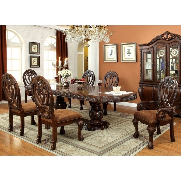 Well Liked Craftsman 7 Piece Rectangular Extension Dining Sets With Arm & Uph Side Chairs Within Shop Furniture Of America Beaufort Formal 7 Piece Dining Set – Free (View 19 of 20)