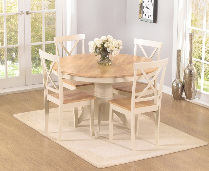 Well Liked Cream And Oak Dining Tables Regarding Epsom Cream 120Cm Round Pedestal Dining Table Set With Chairs (View 19 of 20)