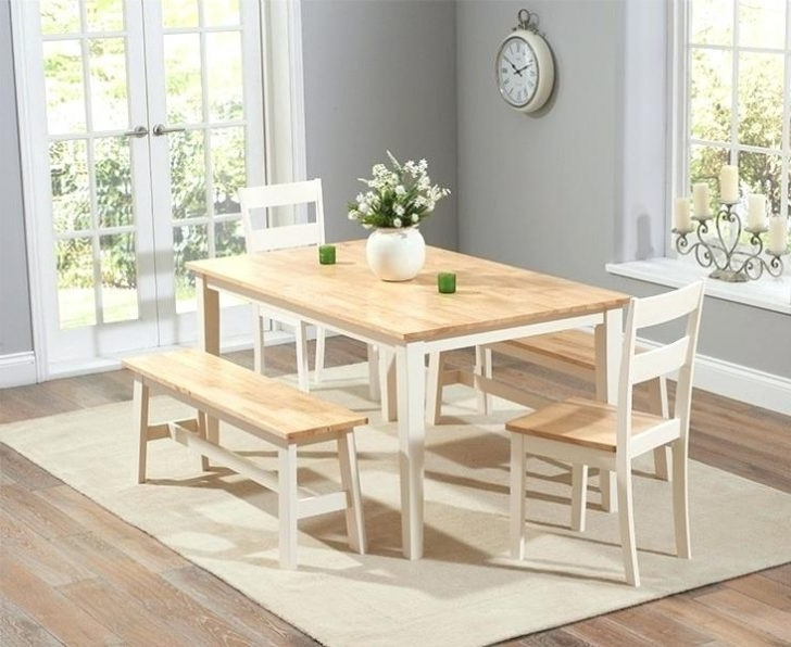 Well Liked Cream And Wood Dining Tables Inside White And Wood Dining Table Country Butcher Block Oak Finish Wash (View 7 of 20)