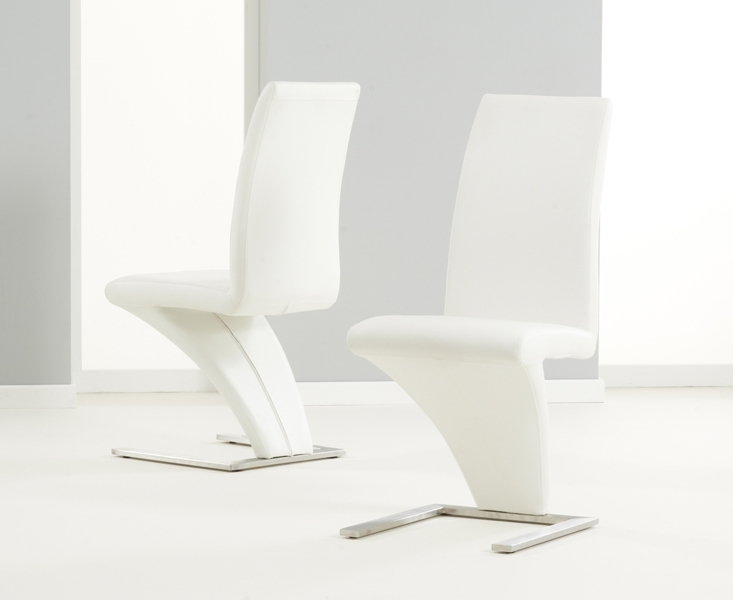 Well Liked Cream Faux Leather Dining Chairs In Pair Of White Hereford Pu Leather & Chrome Z Dining Chairs (View 18 of 20)