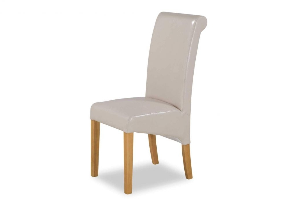 Well Liked Cream Faux Leather Dining Chairs Regarding Cream Faux Leather Dining Chair With Oak Legs – Wilton – Ez Living (View 14 of 20)
