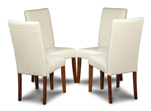 Well Liked Cream Leather Dining Chairs For Cream Coloured Set Of 4 Leather Dining Chairs (View 19 of 20)