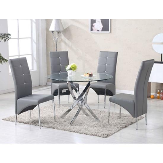 Well Liked Daytona Round Glass Dining Table With 4 Vesta Grey Chairs With Grey Glass Dining Tables (View 20 of 20)