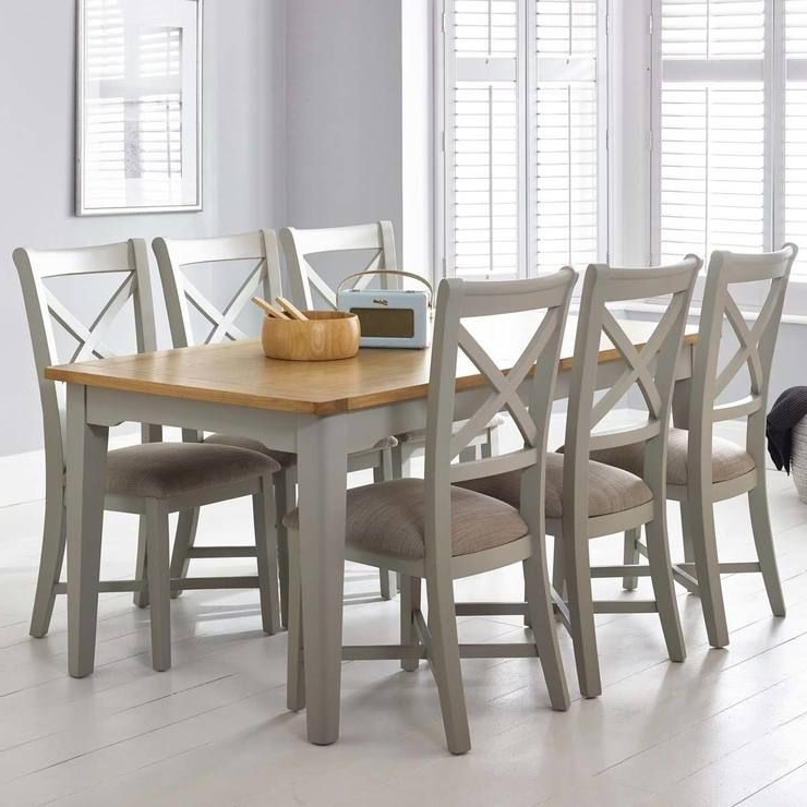 Well Liked Extendable Dining Tables 6 Chairs Regarding Bordeaux Painted Light Grey Large Extending Dining Table + 6 Chairs (View 19 of 20)
