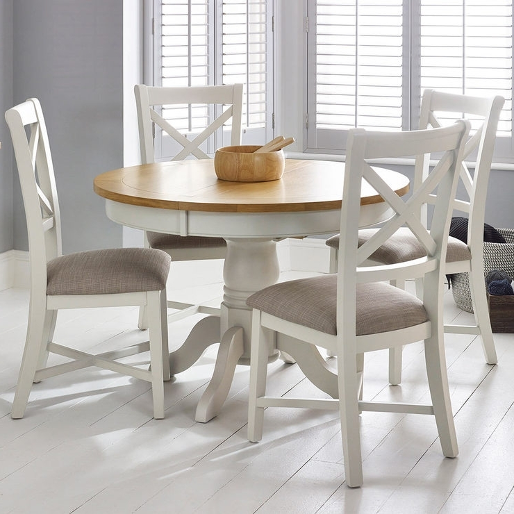 Well Liked Extending Dining Tables And 4 Chairs Pertaining To Bordeaux Painted Ivory Round Extending Dining Table + 4 Chairs (View 17 of 20)