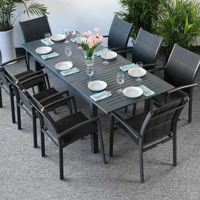 Well Liked Garden Dining Tables With Garden Table Set Virginia Grey – 8 Person Aluminium Extending Patio (View 8 of 20)