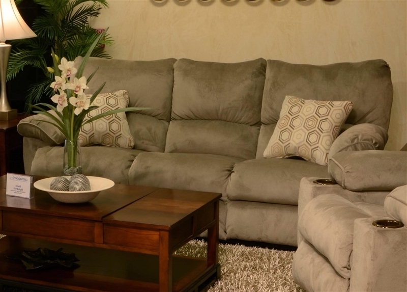"Well Liked Gavin Reclining Sofa With Drop Down Table In ""taupe"" Color Fabric Regarding Gavin 6 Piece Dining Sets With Clint Side Chairs (View 13 of 20)"