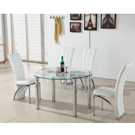 Well Liked Glass Round Extending Dining Tables Pertaining To Oasis Round Extending Glass Dining Table And 4 White Chairs (View 20 of 20)