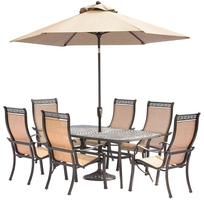 Well Liked Hanover Manor Aluminum Rectangular 7 Piece Patio Dining Set With Intended For Chapleau Ii 7 Piece Extension Dining Table Sets (View 20 of 20)