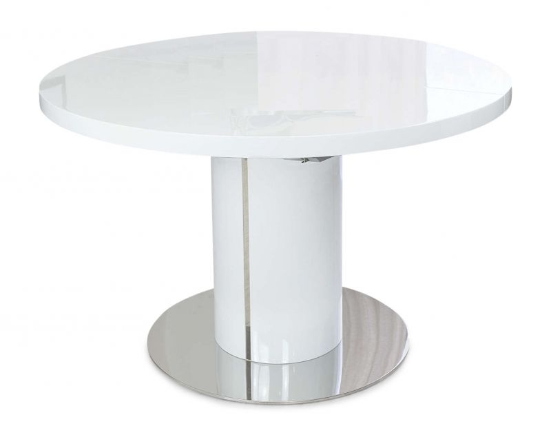 Well Liked High Gloss Round Dining Tables Regarding Romeo Round White High Gloss Extending Dining Table (View 9 of 20)