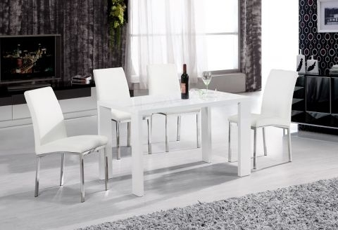 Well Liked High Gloss White Dining Tables And Chairs Intended For Peru High Gloss White Dining Table With 4 Faux Leather Chairs In (View 20 of 20)