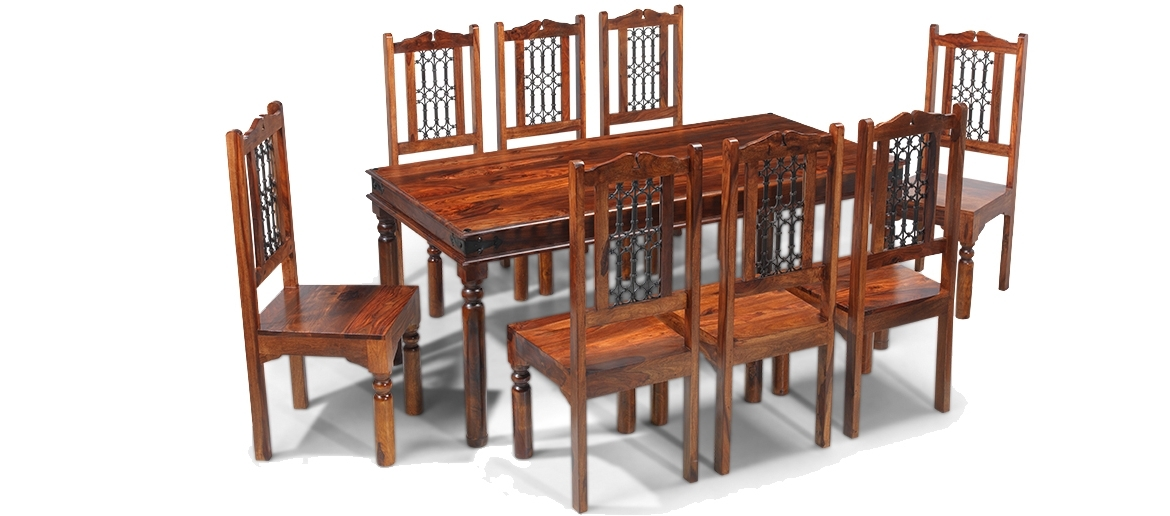 Well Liked Jali Sheesham 200 Cm Thakat Dining Table And 8 Chairs (View 20 of 20)