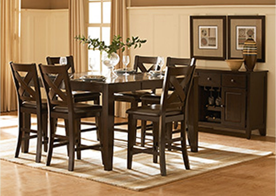 Well Liked Jaxon 5 Piece Extension Round Dining Sets With Wood Chairs Pertaining To Gibson Mcdonald Furniture Crown Point Merlot Counter Height Dining (View 18 of 20)