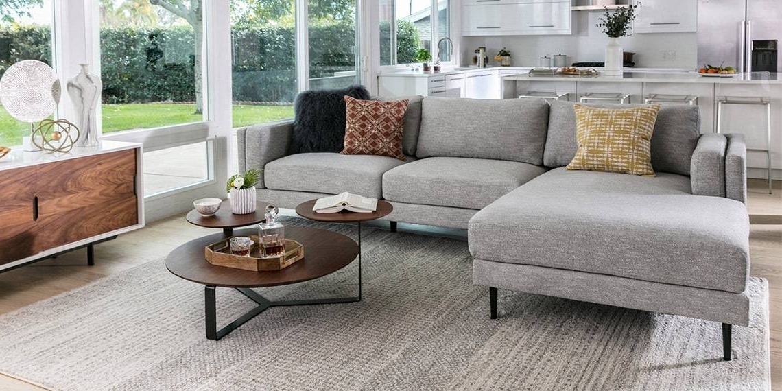 Well Liked Mid Century Living Room With Aquarius Light Grey 2 Piece Sectional With Regard To Aquarius Light Grey 2 Piece Sectionals With Raf Chaise (Gallery 11 of 15)
