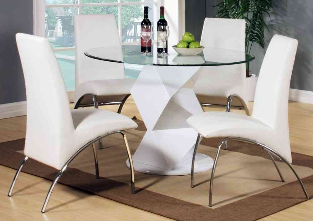 Well Liked Modern Round White High Gloss Clear Glass Dining Table & 4 Chairs With Clear Glass Dining Tables And Chairs (View 6 of 20)