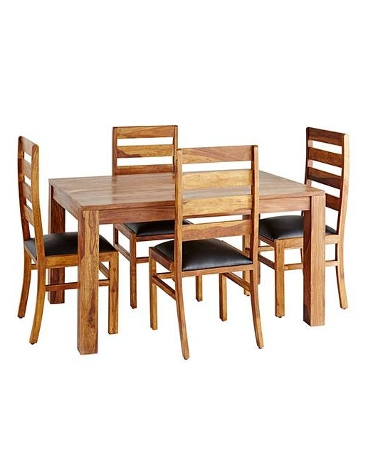 Well Liked Origen Sheesham Dining Table & 4 Chairs (View 16 of 20)