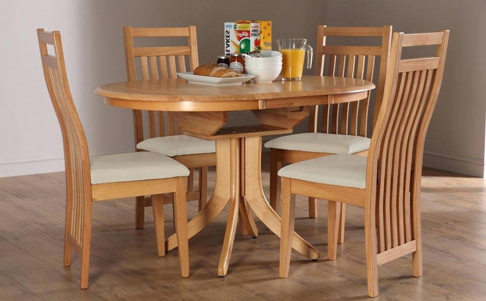 Well Liked Round Extending Oak Dining Tables And Chairs Within Extendable Round Dining Table Set – Castrophotos (View 5 of 20)