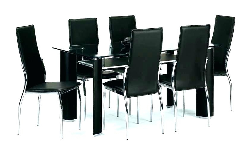 Well Liked Round Glass Dining Table For 6 Dining Table Round 6 Chairs With Intended For Black Glass Dining Tables 6 Chairs (View 12 of 20)