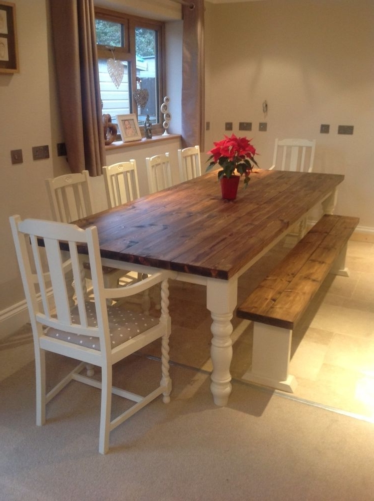Well Liked Rustic Farmhouse Shabby Chic Solid 10 Seater Dining Table Bench And Intended For 10 Seat Dining Tables And Chairs (View 6 of 20)