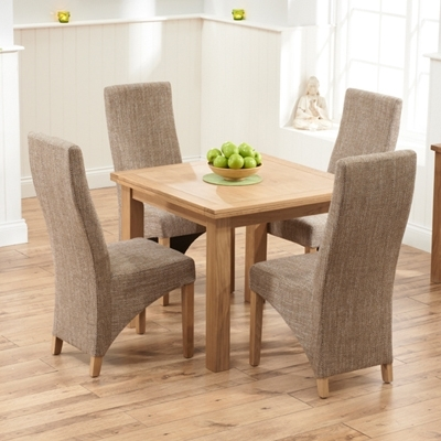 Well Liked Sandiego Oak 90Cm Extending Dining Table With 4 Henry Tweed Chairs In Extending Dining Tables And 4 Chairs (View 19 of 20)
