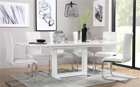 Well Liked Tokyo White High Gloss Extending Dining Table And 4 Chairs Set For Gloss White Dining Tables (View 19 of 20)