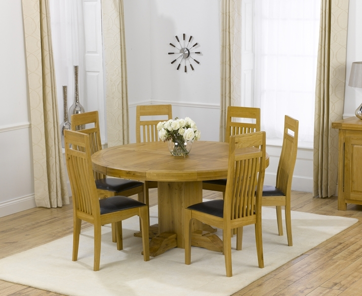 Well Liked Torino 150Cm Solid Oak Round Pedestal Dining Table With Monaco Chairs Within Oak Dining Tables With 6 Chairs (View 19 of 20)