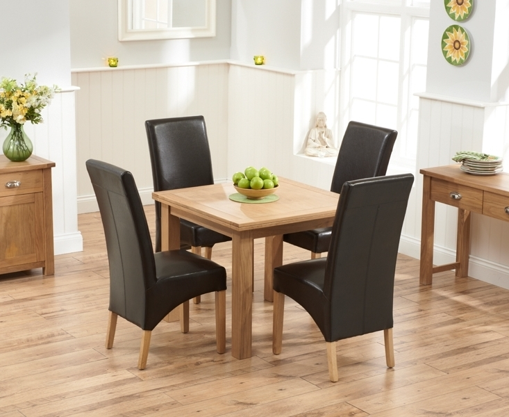 Well Liked Udine Solid Oak 90Cm Flip Top Extending Dining Set With 4 Tivoli Pertaining To Oak Dining Tables And Leather Chairs (View 8 of 20)