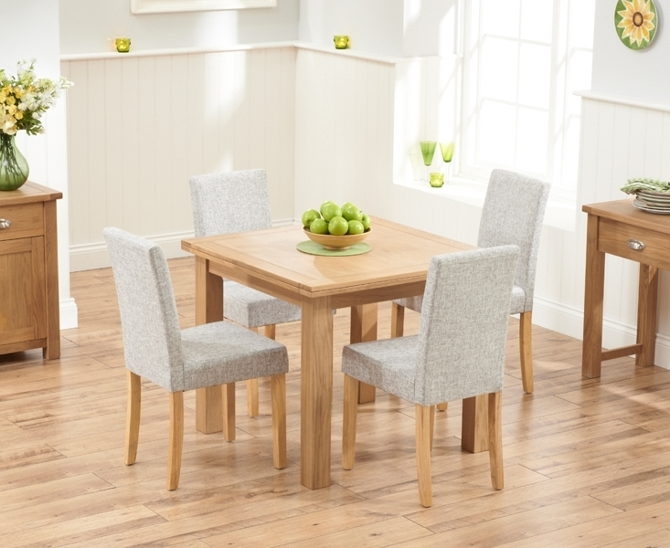 Well Liked Udine Solid Oak 90Cm Flip Top Extending Dining Set With 4 Worksop Pertaining To Oak Dining Tables And Fabric Chairs (View 20 of 20)