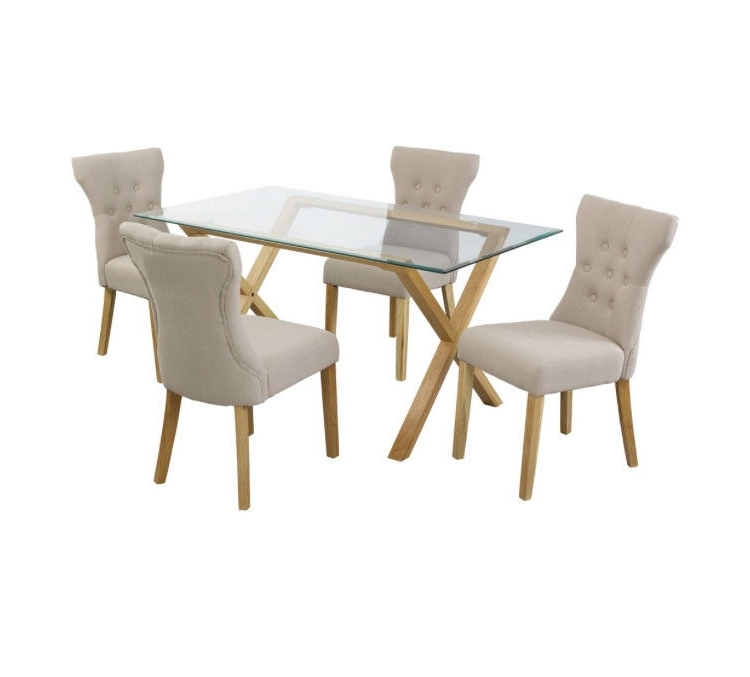 Well Liked Walden Extension Dining Tables In Glass & Oak Dining Table With 4 X Fabric Chairs (View 19 of 20)