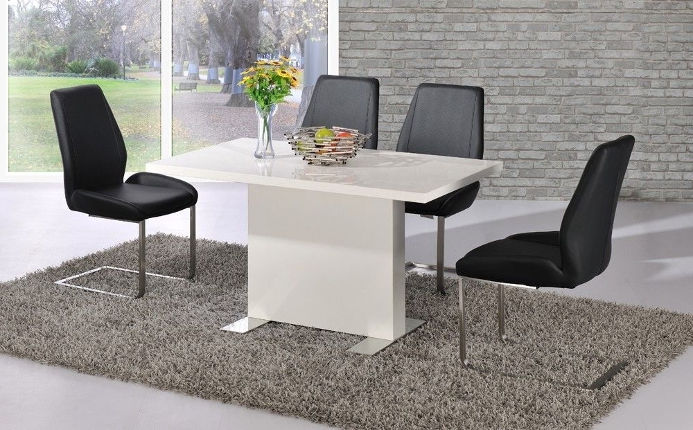 Well Liked White Dining Table Black Chairs White High Gloss Dining Teal Leather Within Gloss Dining Tables And Chairs (View 20 of 20)