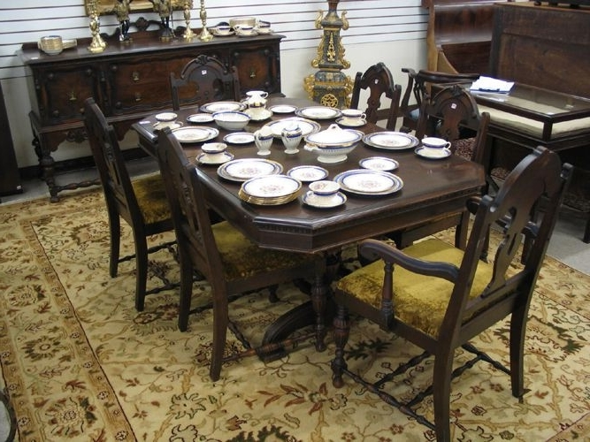 Well Liked Wyatt 7 Piece Dining Sets With Celler Teal Chairs Inside Eight Piece Walnut Dining Set, Baker Furniture Co (View 7 of 20)