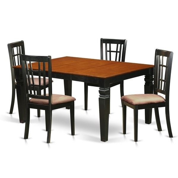 Weni5 Bch 5 Pc Dinette Set With A Dining Table And 4 Kitchen Chairs For 2018 Caden 5 Piece Round Dining Sets With Upholstered Side Chairs (View 19 of 20)