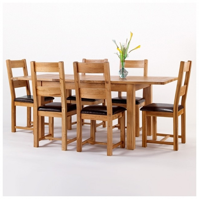Westbury Rustic Oak Extending Dining Table Set (View 19 of 20)